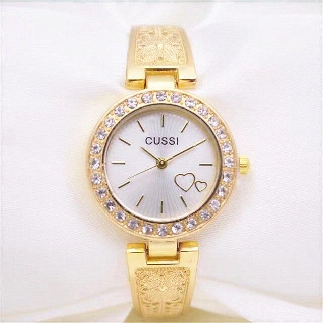 CUSSI 2018 Luxury Gold Womens Bracelet Watches Fashion Quartz Wristwatches Ladie