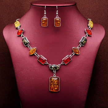 Vintage African Beads Jewelry Sets for Women Fashion Silver Color Square Charms Necklace
