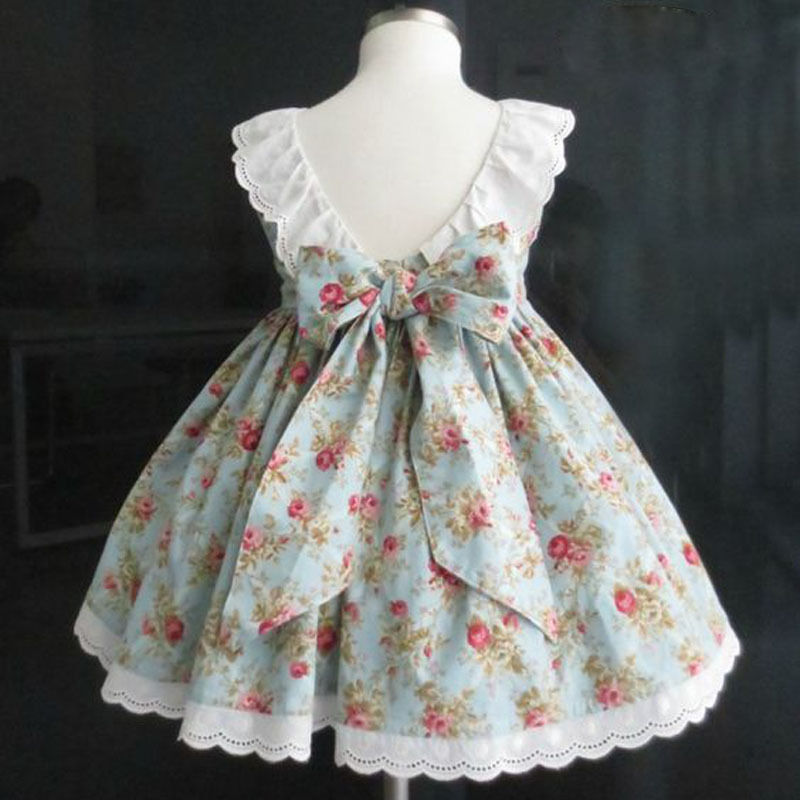 2017 Floral Lace Dress Kids Girls Sleeveless Back Bow Princess Girl Party Dress Birthday Gift Children Sundress Clothes 2-7Y brand new cotton floral prints pleated sleeveless dress children clothes princess girl evening dresses kids girls party sundress