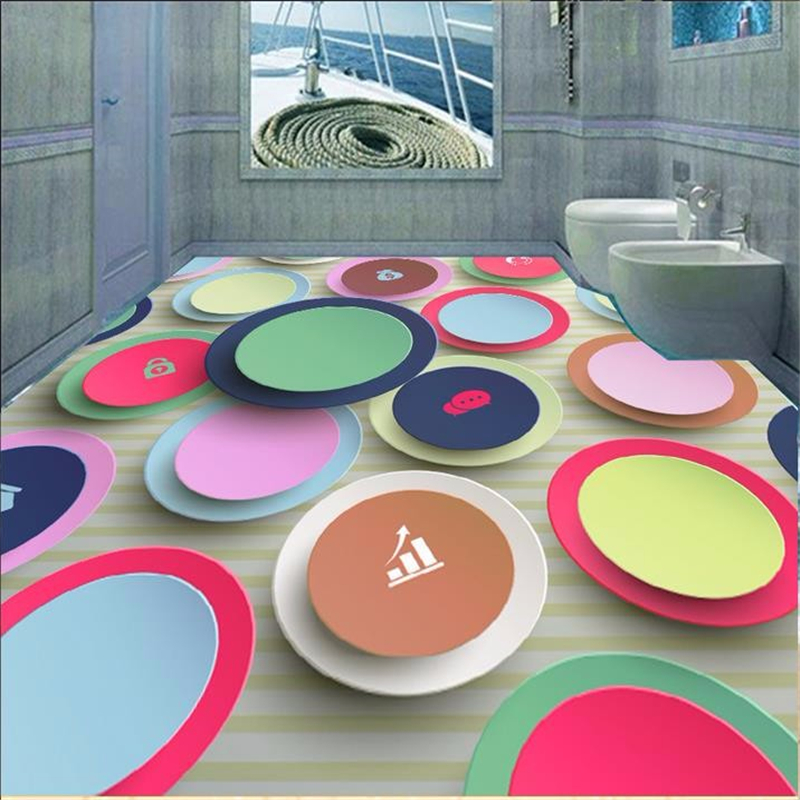 beibehang custom floor paper Abstract creative circle murals 3d pvc flooring waterproof 3d floor tiles self adhesive wallpaper beibehang 3d mural flooring pvc adhesive paper fish non slip waterproof thickening self adhesive fresco floor fototapete 3d