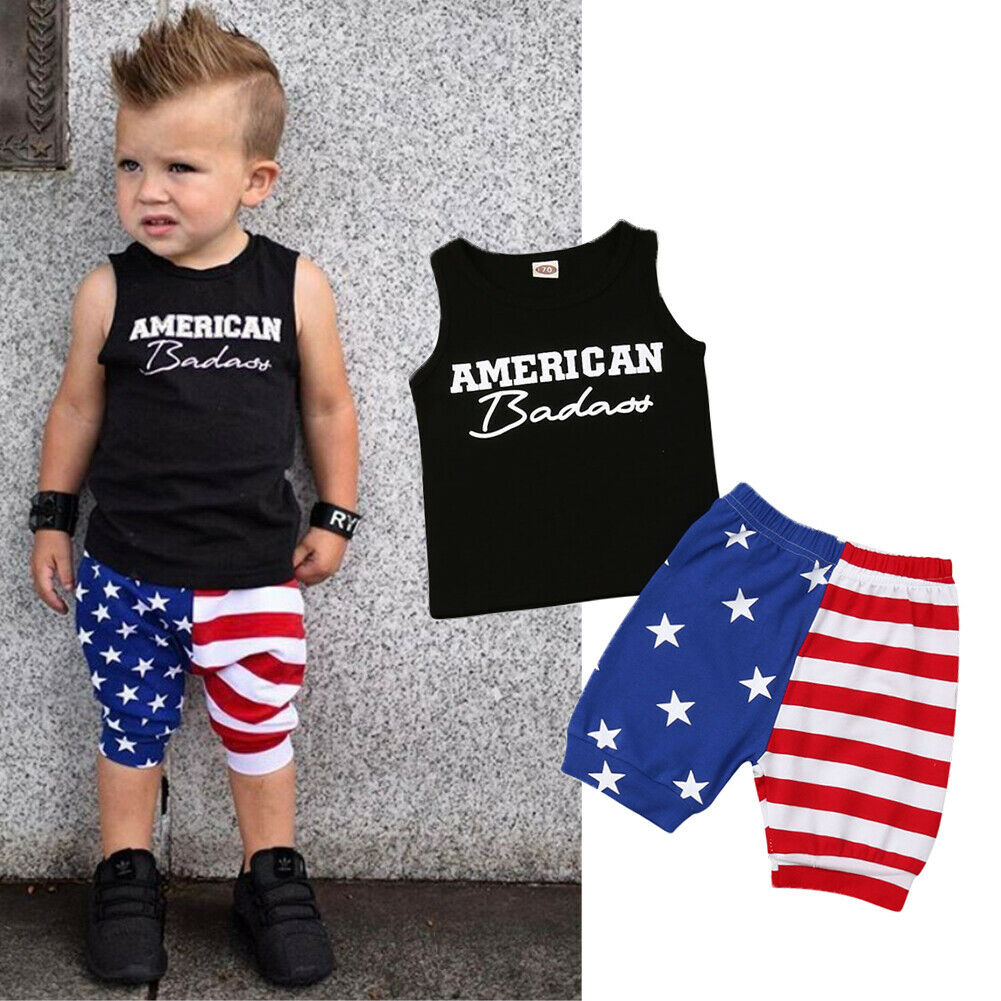 Toddler Baby Boys Girls Stars Striped Tops Vest Shorts 4th Of July Outfits Set