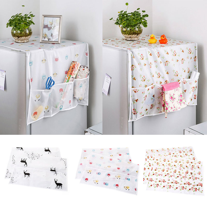Refrigerator Organizer PEVA Freezer Top Bag Dust Covers Fridge Storage Bags 130*55cm 1Pcs Refrigerator Cover Waterproof image