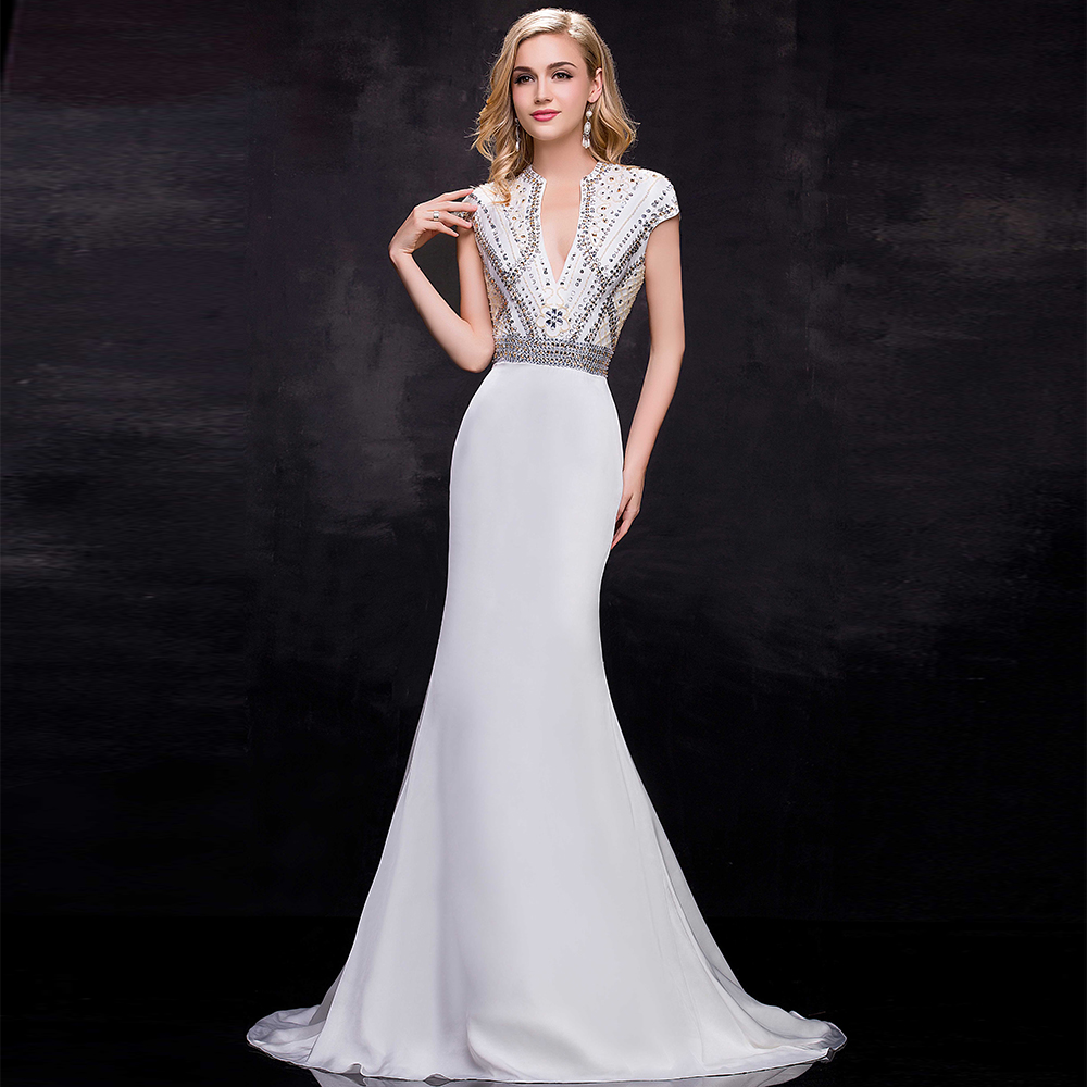 Wedding White Formal Gowns online get cheap white prom gown aliexpress com alibaba group real photo formal evening gowns dresses 2017 luxury beaded cap sleeves mermaid long dress