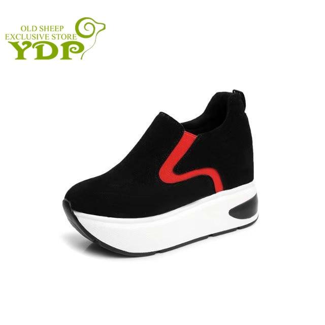Filles Chaussures Bout Automne Plate Couleur Respirant Mélangée Ydp Mode Sneakers forme Casual Pour Confortable Femmes De rouge Pointu Course Noir 4TqSnwpxR