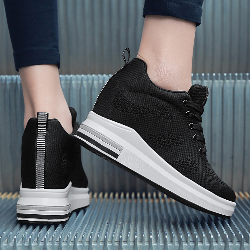 Hide Heel Women Fashion Sneakers Flying Knitting Wedge Casual Shoes Woman Air Mesh Breathable Autumn High Top Ladies Shoes SH3 (32)
