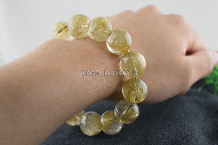 1pc High Quality Man's Jewelry Big size Natural Gold Rutilated Quartz Crystal Round Beads Elastic Line Bracelets Free shipping