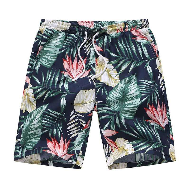 2019 Men Floral Printed Plus Size Shorts Summer Hawaiian Beach Short Oversize Loose Drawstring Boardshorts Trunks Hot Sale