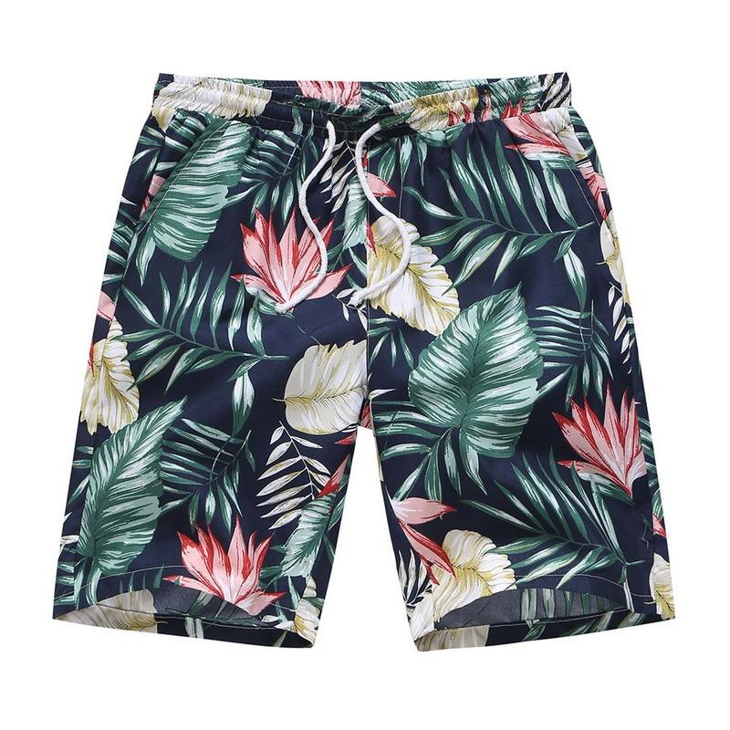 2019 Men Floral Printed Plus Size Shorts Summer Hawaiian Beach Short Oversize Loose Drawstring Boardshorts Trunks Hot Sale
