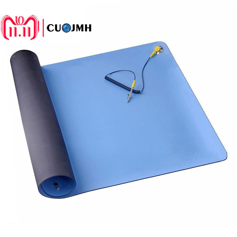 1 Set Blue 70*50cm Rubber Anti-static Mat Portable Computer Repair Appliance Repair Work Mat Rubber Non-slip Table Cloth Mat 1pc air compressor valve 1 4 180psi air compressor regulator pressure switch control valve with gauges