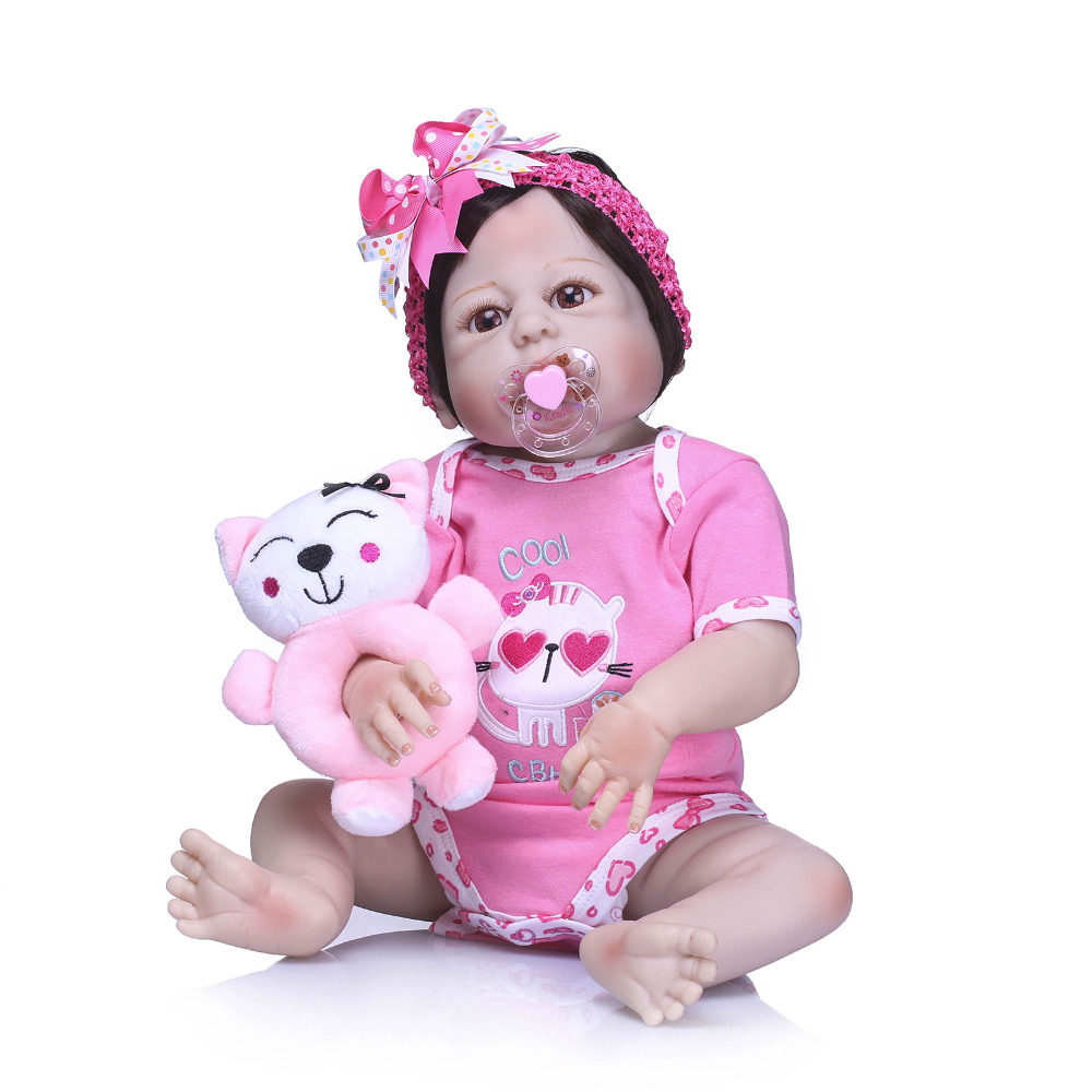 Nicery 22inch 55cm Bebe Reborn Doll Hard Silicone Boy Girl Toy Reborn Baby Doll Gift for Child Pink Cat Pink Clothes Baby DollNicery 22inch 55cm Bebe Reborn Doll Hard Silicone Boy Girl Toy Reborn Baby Doll Gift for Child Pink Cat Pink Clothes Baby Doll