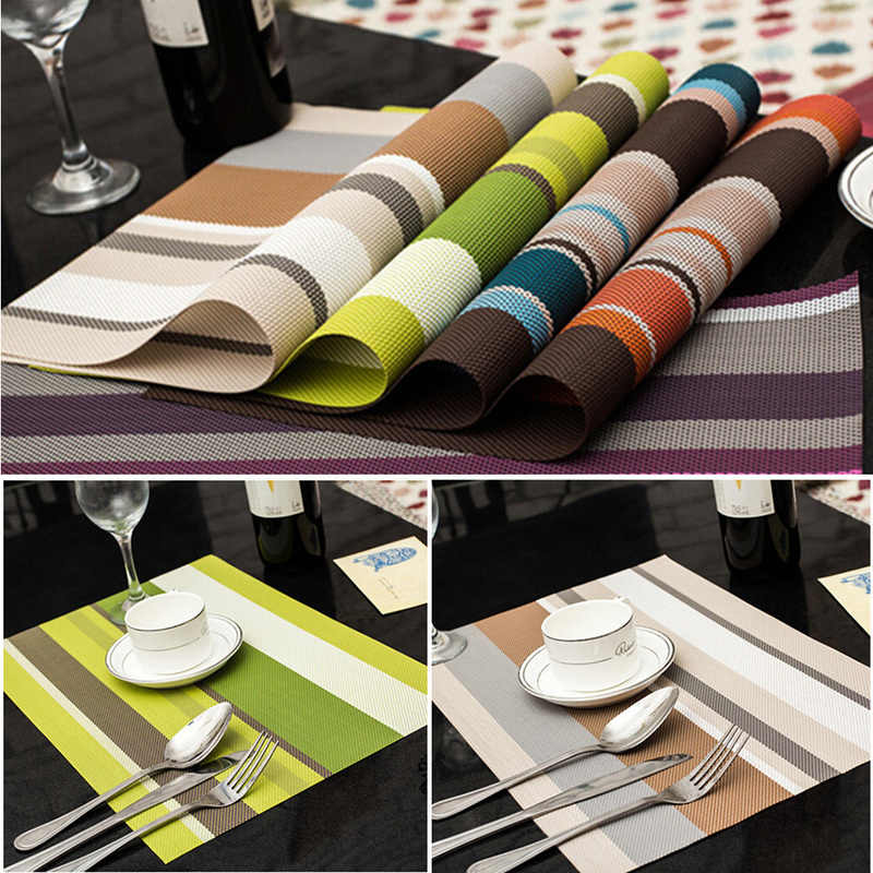 5 Color Dining Table Mat Kitchen Accessories Silicone Pvc Placemat Pad Placemats for Table Waterproof Heat Insulation Placemats