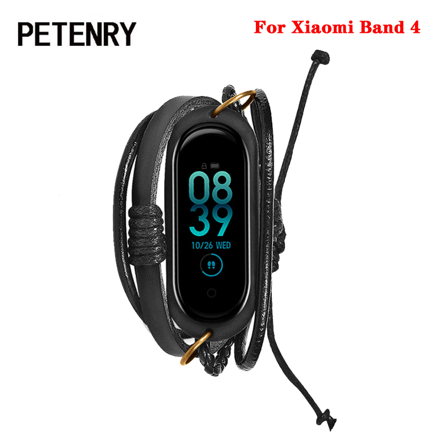 For Mi Band 4 Bracelet Retro Braided Leather Wrist Strap for Xiaomi Mi Band 4 Wristband Replacement Band for Miband 4 Accessorie xiaomi mi band 4