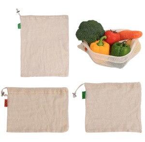 Image 2 - Reusable Produce Lagerung Tasche Eco Freundliche Baumwolle Mesh Taschen Obst Gemüse ecologico Lagerung Taschen Hause Küche Veranstalter