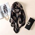 luxurious fashion high-grade elegant wild temperament printing silk womens scarf large Pentium letter warm shawl female