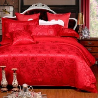 Luxury jacquard silk Bedding 100%cotton Embroidered including Duvet cover Bed sheet Pillowcase Chinese Red style Wedding