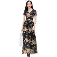 Bohemian Summer Runway Party Dress Embroidery V Neck Maxi Women's Retro Flowers Long Dress 6507
