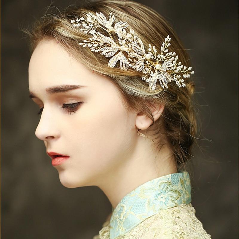 Luxury Gold Bridal Headpiece Romantic Wedding Hair