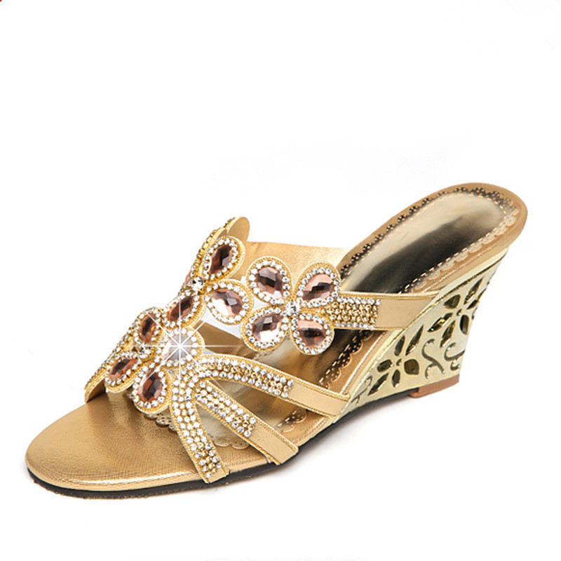 2018 New Arrival Women Genuine Leather Sandals Hollow Out Flower Metal High Wedges Peep Toe Slip On Crystal Flowral Decorarion bfdadi 2018 new arrival hat genuine