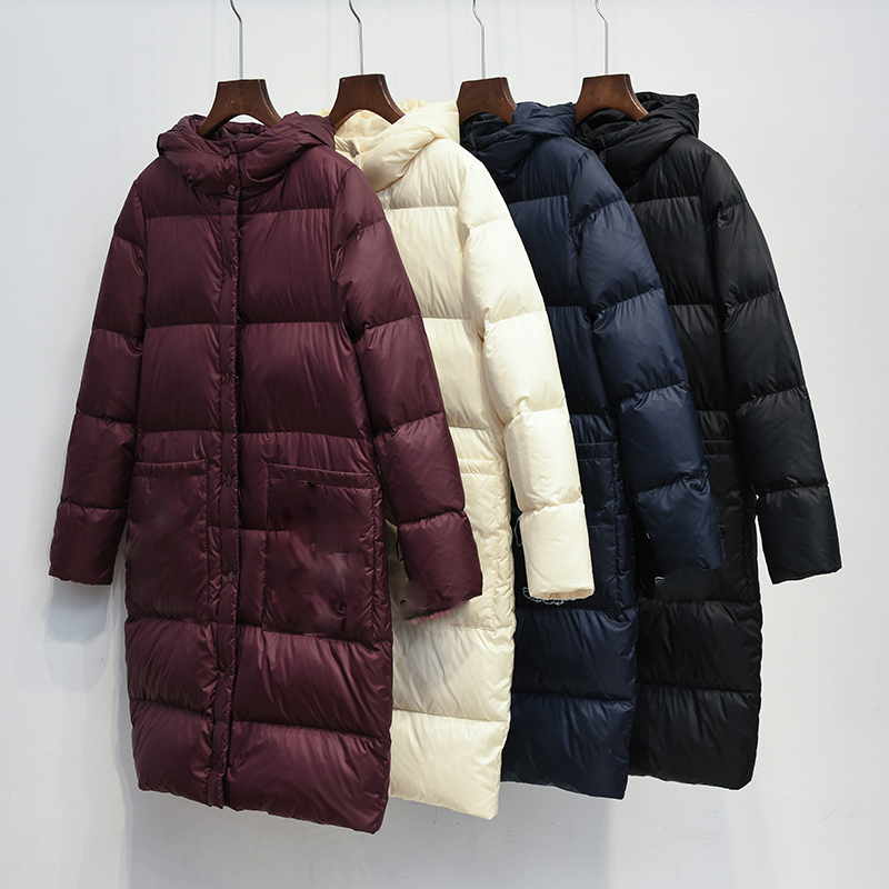 thick new women Coat Ultra warm white Duck Down Jacket Long Female Overcoat Slim Solid Jackets Winter Coats Parkas Padded
