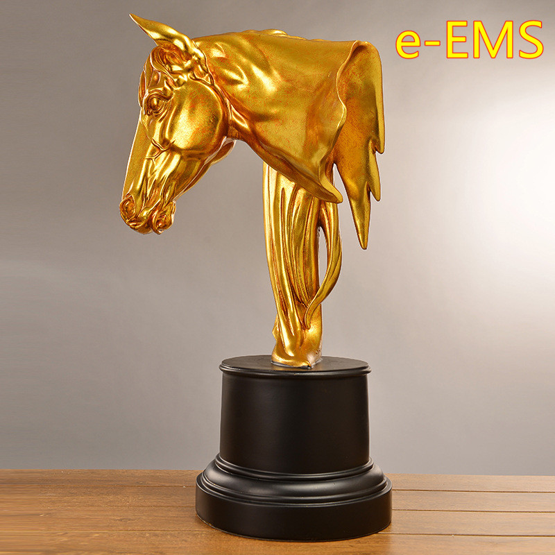 Retro Gold Horse Head Statue Animal Bust Luxury Model Resin Craftwork Home Furnishing Articles L2426