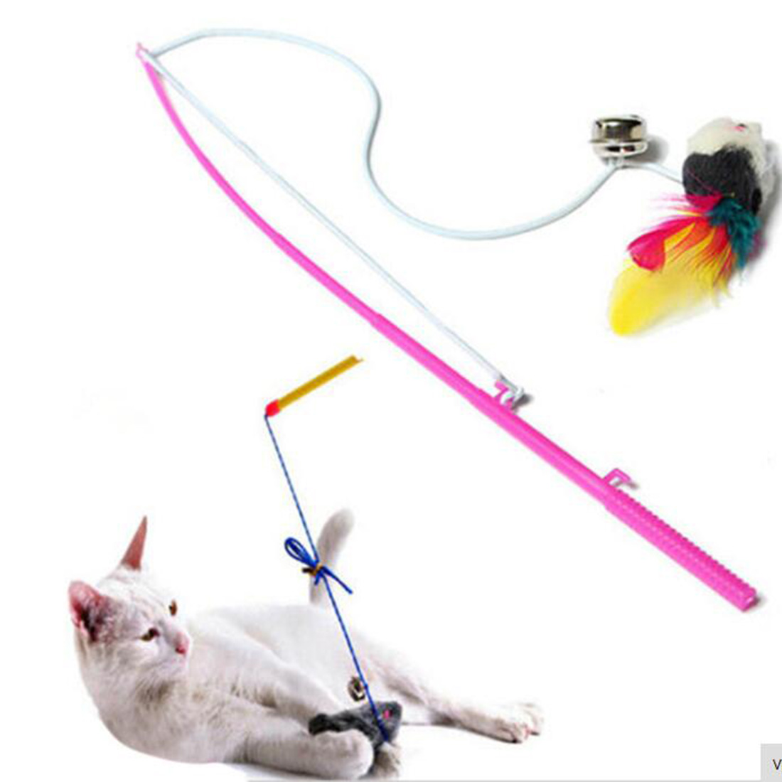 Big Sale Pet cat toy Design Steel Wire Feather Teaser Wand Plastic Toy for cats Color Multi Products For pet Free shipping