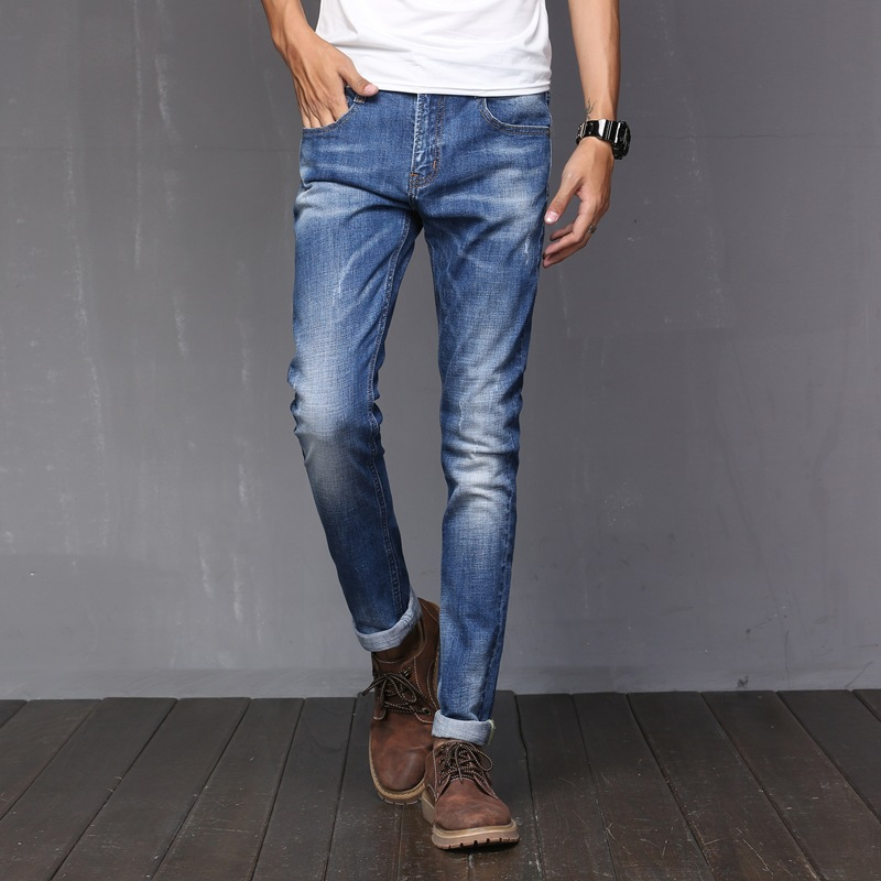2017 Men s Relaxed Fit Jean Super Comfy Authentics Classic Elasticity Motorcycle Durable Denim Pants Men