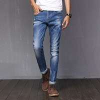 2017 Men's Relaxed Fit Jean Super Comfy Authentics Classic Elasticity Motorcycle Durable Denim Pants Men Boot Cut Spring Jeans