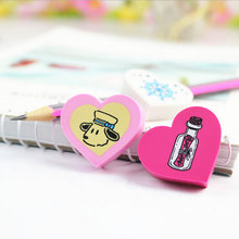 3Pcs/Lot Cute heart shape  Eraser Rubber Stationery Shaped Creative kawaii School Supplies learning office supplies