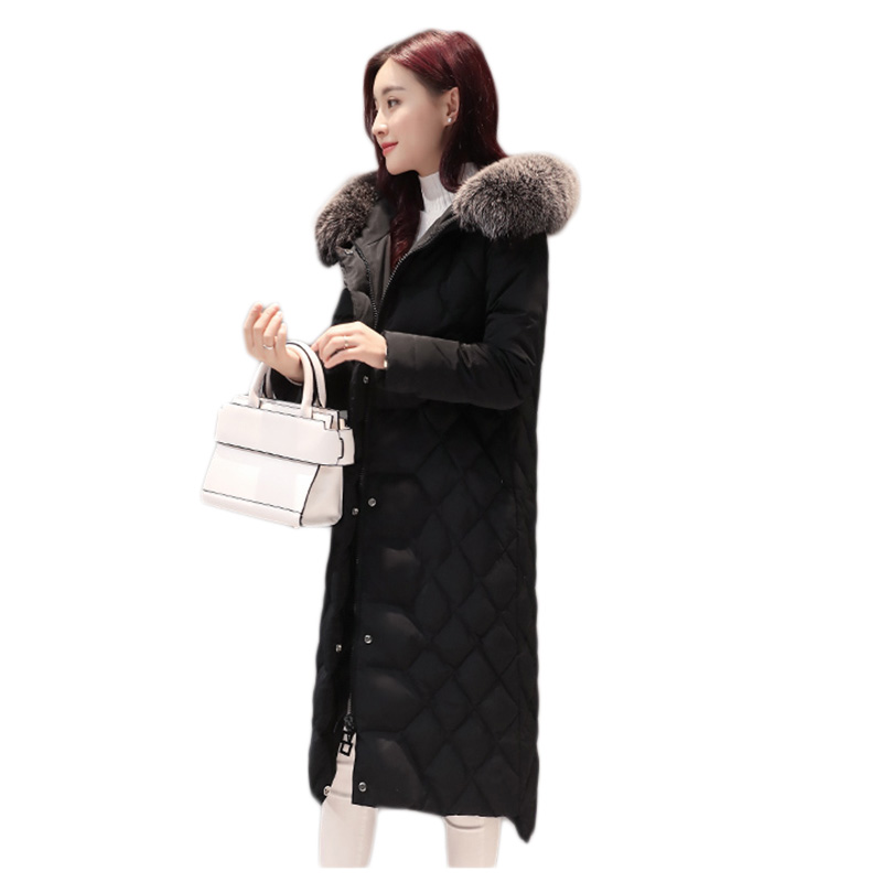 100%Polyester fiber White duck down Down jacket women in the long section Winter new Korean women thickening Slim fox fur collar