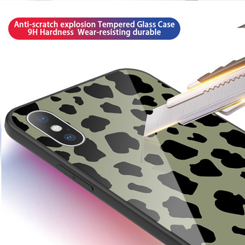 Luxury Tempered Glass Case For iPhone Leopard Print Protective Phone Back Cover Case Shell 2