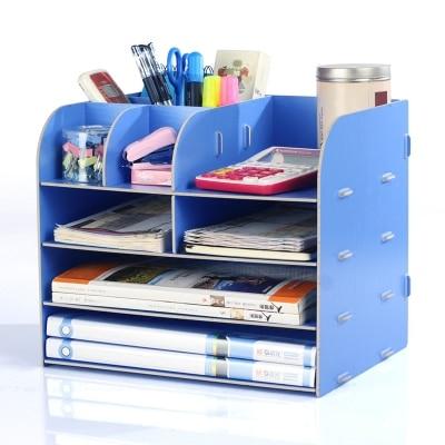 DIY Office Organizer Wooden Office Desk Sets Desk File Organizer Multifunctional Office Desk Accessories Document Storage