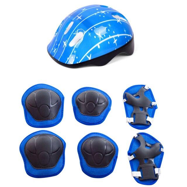7 pièces/ensemble enfant patinage à roulettes planche à roulettes réglable coude genouillères poignet protection Sports de plein air garde casque