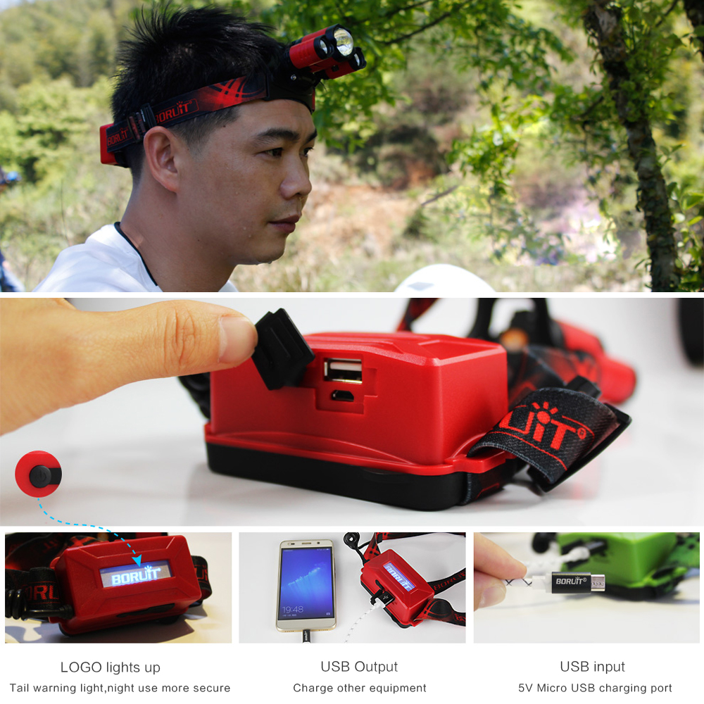 Купить с кэшбэком BORUIT B22 Rechargeable Zoomable Headlamp XM-L2+2X XPE 4-Mode Red LED Zoom Power Bank Hunting Micro USB Headlight Head torch