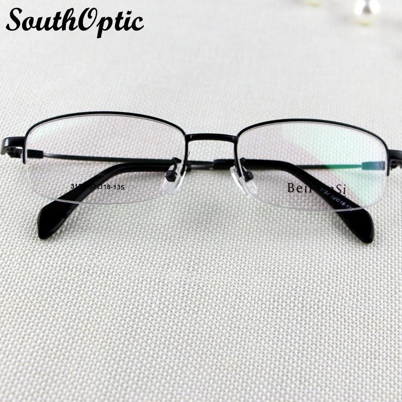 5eacc22b3d21 Half Frame Glasses Unisex Metal Memory Titanium Flexible Temple Comfortable Glasses  Black Prescription Eye glasses Frames 3122-in Eyewear Frames from Men s ...