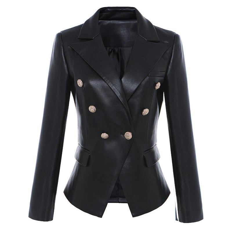 2018 nueva moda euroamericana Otoño Invierno alta calidad cabeza de león doble botonadura Oficina señora Slim Fit Faux piel traje-in chaqueta de deporte from Ropa de mujer    1