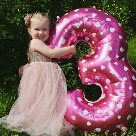 Large 40 inch Pink/Blue Heart Dot Digital Foil Balloons 1th Birthday Party Supplier helium Balls Baloes giant  Number 1 globos