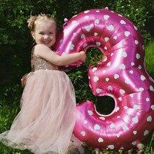 대형 32 인치 핑크/블루 하트 도트 디지털 호일 풍선 1 생일 파티 공급 업체 에어 볼 Baloes 거대한 번호 1 globos
