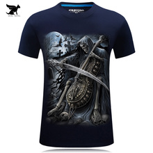 2017 Summer New 3D T Shirt Men's Short-sleeve Fashion O-Neck animal T-shirt Printed Casual Navy blue Male Shirts Plus size 6XL