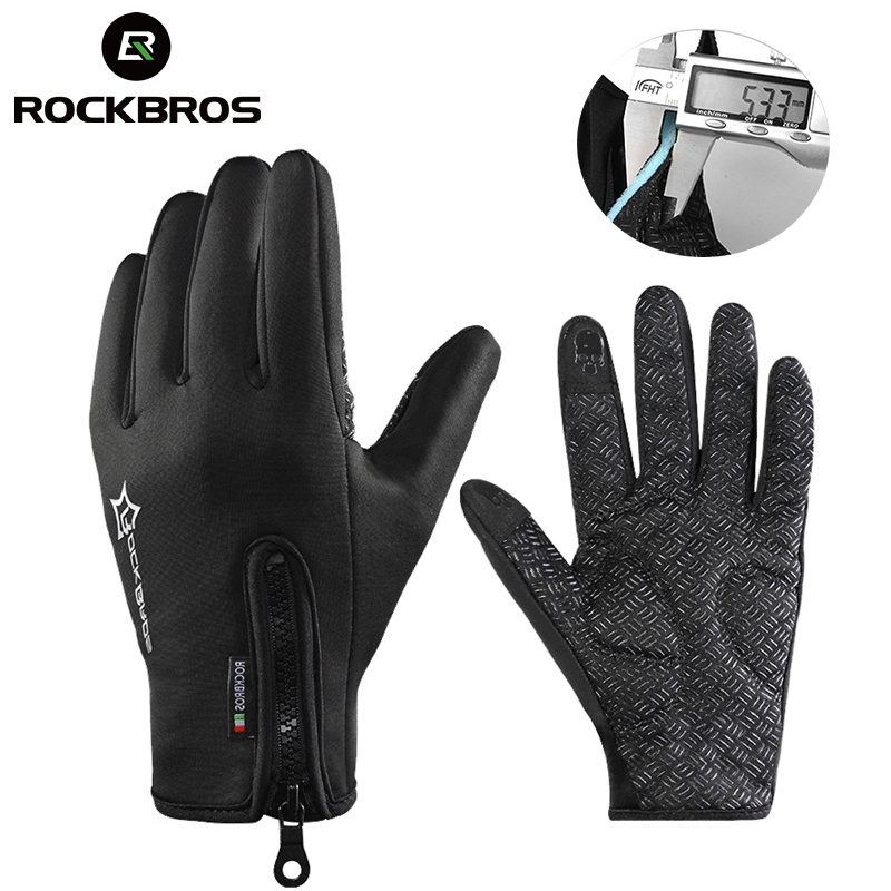 ROCKBROS Anti-slip Snowboard Ski Gloves Thermal Waterproof Touch Sreen Skiing Gloves Snow Winter Bike Cycling Bicycle Gloves Men