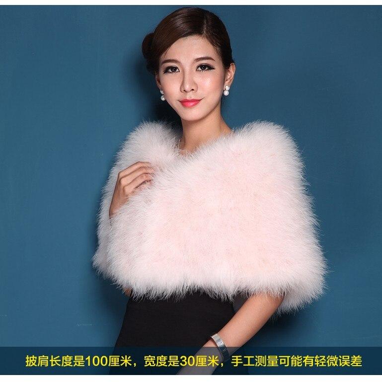 Autruche plume cape fourrure la mariée robe de mariée châle hiver manteau authentique robe conférence avec un débardeur