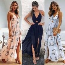 Women Boho Floral Maxi Long Dress Summer Evening Party Beach Slit Spilt Sundress see through random floral long sleeves slit maxi dress