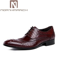 NORTHMARCH 2018 High Quality Business Dress Men Shoes Luxury Designer Crocodile Pattern Formal Classic Office Wedding Oxfords