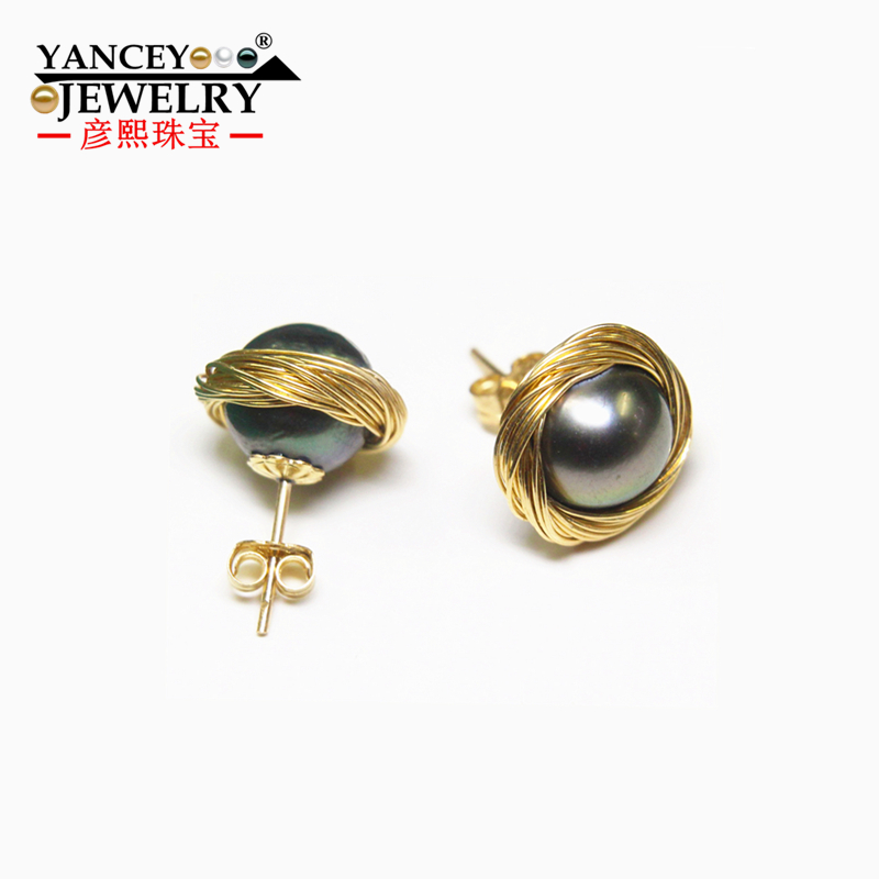 YANCEY Original Design, Pure hand weaving Natural 10-11mm Freshwater Pearl 9K Gold Inlay Drop Earrings, The style of the goddess metal hand design drop earrings