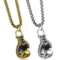 Boxing Glove Pendant Stainless Steel Fitness Necklaces Bodybuilding Fighter Gym Necklace Workout Boxing Jewelry 23''