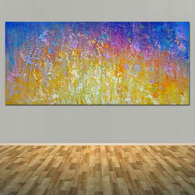 Hand Painted Abstract Thick Impasto Oil Painting On Canvas Yellow Purple Wall Picture Living Room Bedroom Home Decor Art