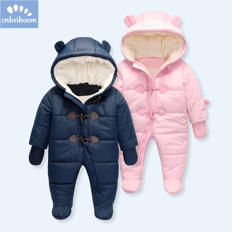 Keep Thick warm Infant baby rompers 2018 Winter clothes Newborn Baby Boy Girl Romper Jumpsuit Hooded Kid Outerwear For 0-24M цена 2017