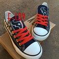 So Cool NFL Houston Texans Caminar Zapato de Las Mujeres de Los Hombres de Lona de Impresión Negro Y Azul zapatos de Graffiti zapatos con Cordones Zapatos de Gran Tamaño Regalo Aficionados
