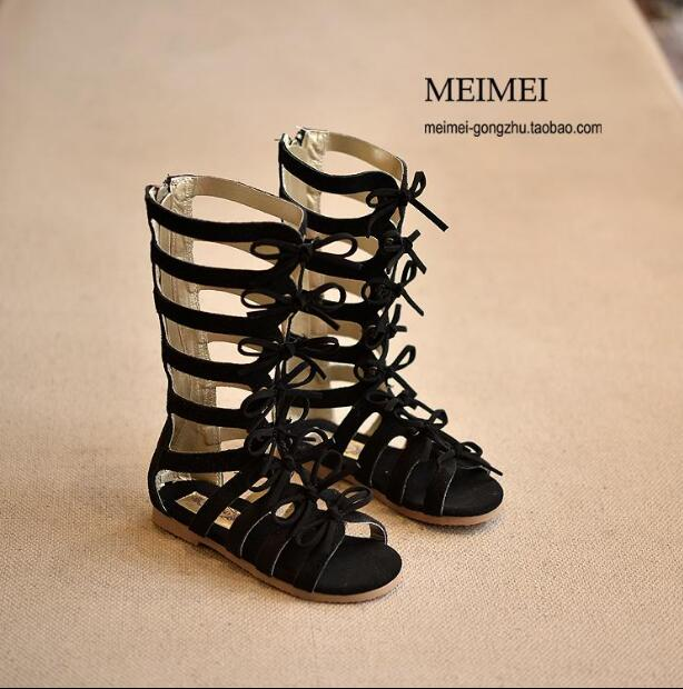 2019 New Fashion Roman Girls Sandals High-top Summer Boots Kids Girl Gladiator Sandals Toddler Baby Sandals High Quality Shoes