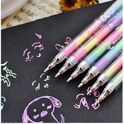 1 piece New Creative Lovely Cute Highlighter Marker Stationary 6 Color Pen Students Ballpen For Children Drop Shipping