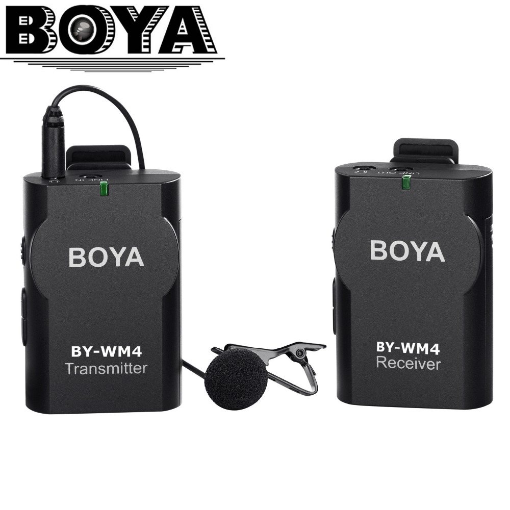 BOYA Universal Lavalier Wireless Microphone Mic for IOS Smartphone Tablet DSLR Camera Camcorder Audio Recorder PC Audio/Video  boya by wm5 lavalier clip on mic audio studio recorder wireless microphone microfone for canon sony gopro dslr camera camcorder
